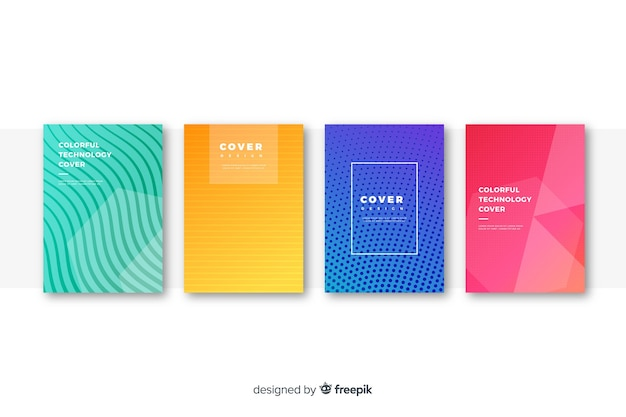 Flat colorful technology cover collection