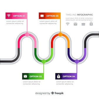 Flat colorful time line infographic