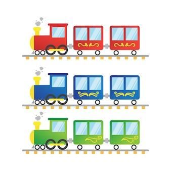 편평한 다채로운 기차 그림
