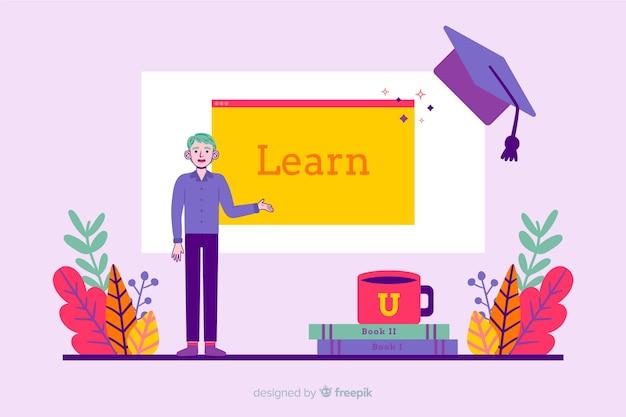 Flat colorful university concept background