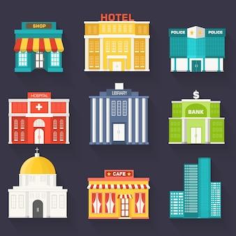 Набор плоских красочных векторных зданий города