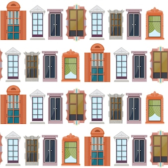 Flat colorful windows seamless pattern