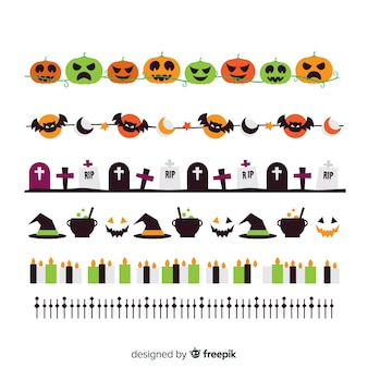 Flat coloured halloween border collection