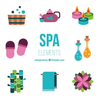 Flat coloured spa element collection