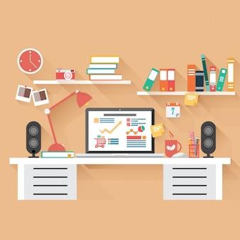 Flat coloured workspace design