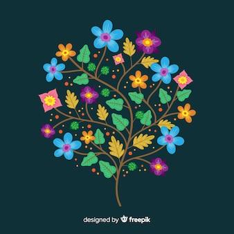 濃い緑色の背景にフラットカラフルな花の枝