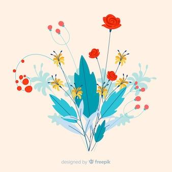 さまざまな花を持つフラットカラフルな花の枝