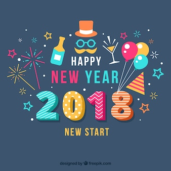 Flat colourful new year background with party elements
