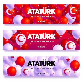 Flat commemoration of ataturk, youth and sports day banner collection