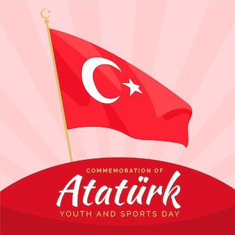 Flat commemoration of ataturk, youth and sports day illustration