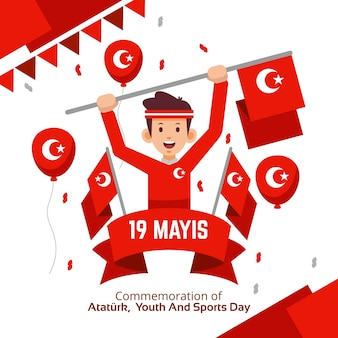 Commemorazione piatta di ataturk, gioventù e illustrazione della giornata sportiva