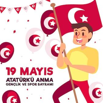 아타튀르크, 청소년 및 스포츠 데이 일러스트레이션의 평면 기념