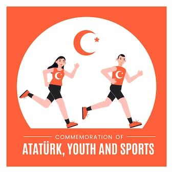 Плоское празднование дня ататюрка, молодежи и спорта