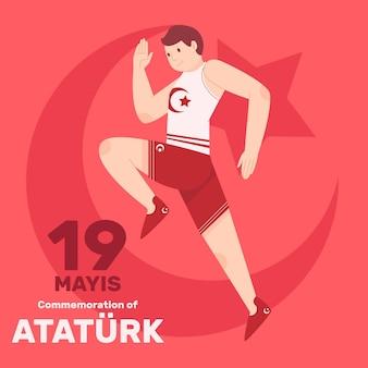 アタテュルク、青年、スポーツデーのイラストのフラット記念