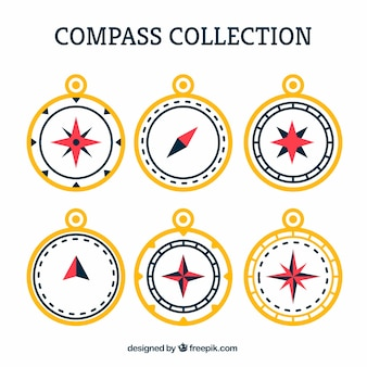 Flat compass collection of six