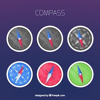 Flat compass set of six