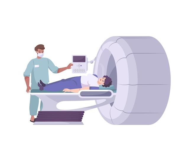 Composizione piatta con medico e paziente sull'illustrazione dell'apparato di screening