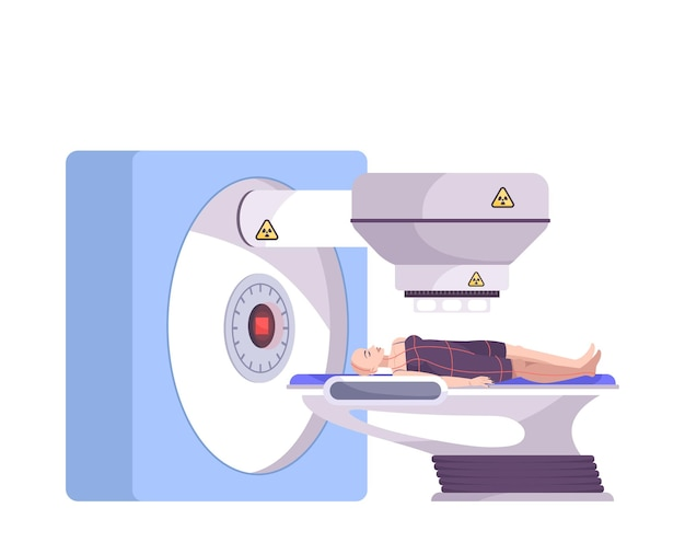 Flat composition with female patient lying on screening table illustration