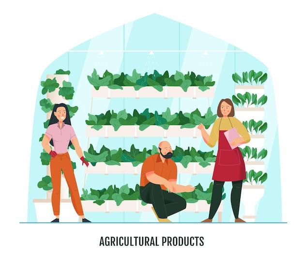 庭師と温室内の植物と鉢とフラットな構成