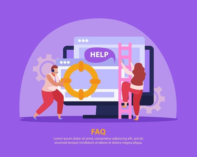 온라인에서 사람들을 지원하는 모니터 및 운영자가있는 평면 구성