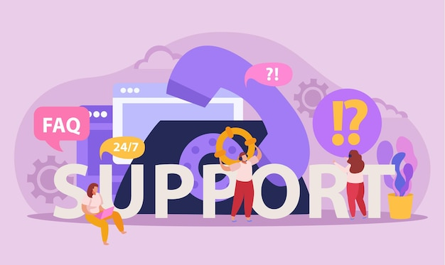 Flat composition with telephone and operators lending online support to client