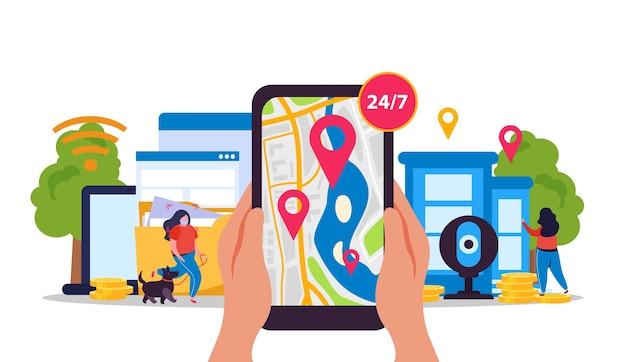 Composizione piatta con wireless e mappa dei segni di posizione su smartphone
