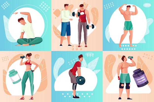 Composizioni piatte impostate con persone che fanno bodybuilding