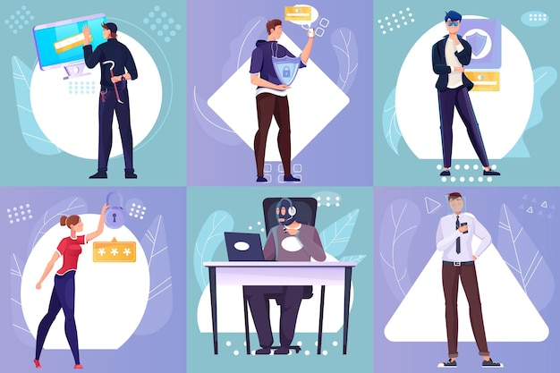 Flat compositions set with protected personal information and hackers illustration