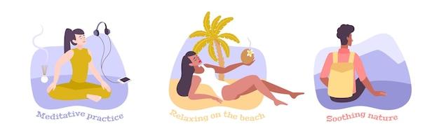 Плоские композиции с людьми, успокаивающими природу, занимающимися медитативной практикой и отдыхающими на морском пляже