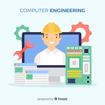 Flat computer engineering concept