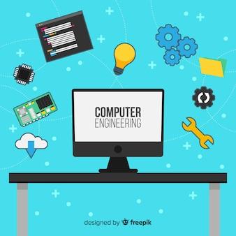 Flat computer engineering concept