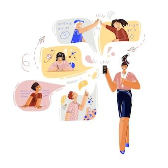 온라인 원격 학교 교육에 대한 평면 개념. 스마트 폰으로 아이들과 의사 소통하는 젊은 여자 선생님.
