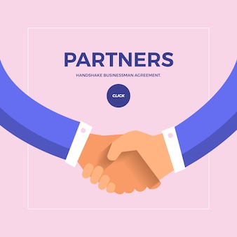 Flat concept check hands to partner business