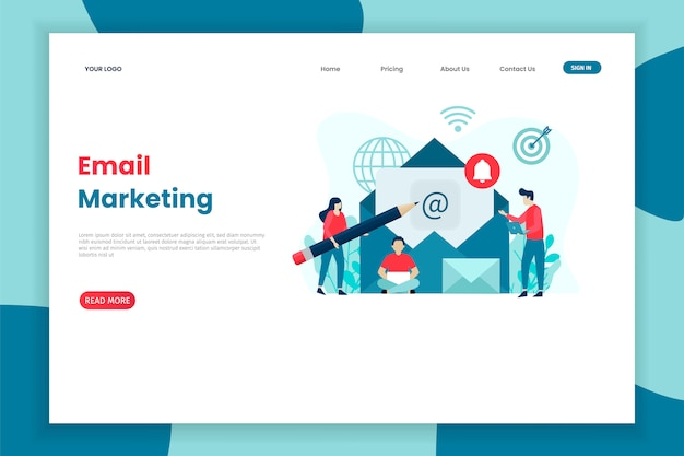 Flat concept design email marketing template for site