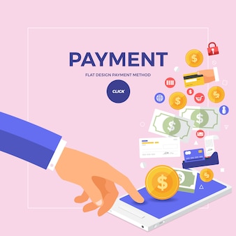 Flat concept online payment with click on mobile