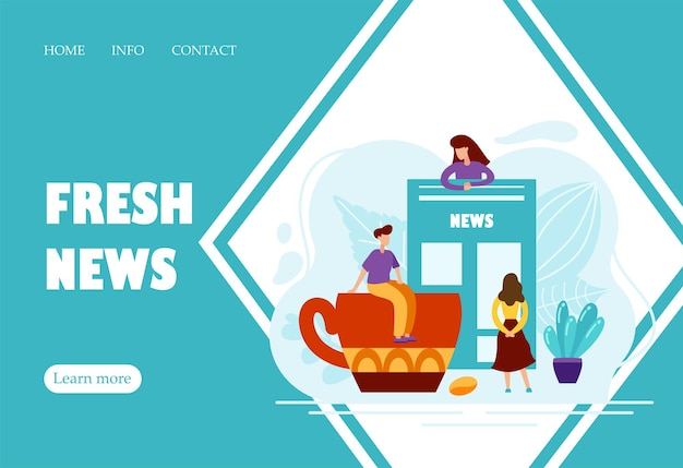 Flat concept of people reading newspaper with world news with cup of coffee. creative landing page design template. abstract text with tiny charecters. vector illustration.
