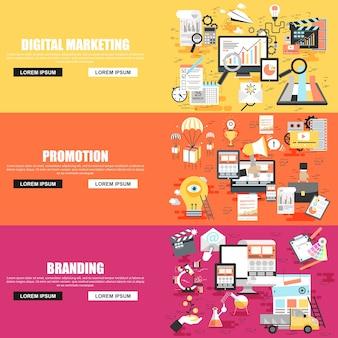사회 캠페인, 디지털 마케팅의 평면 개념 설정 프리미엄 벡터