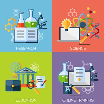 Flat concept set of online education, video tutorials, staff training, learning, knowledge, back to school, learn to think.