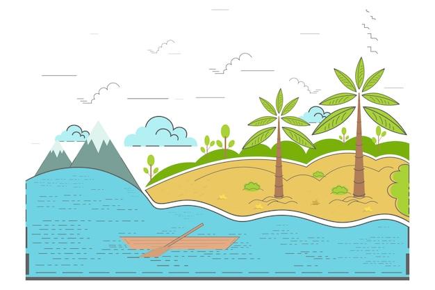 Плоский концептуальный вид на океан