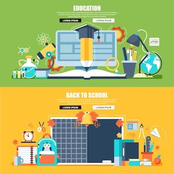 オンライン教育のフラットな概念のwebバナー