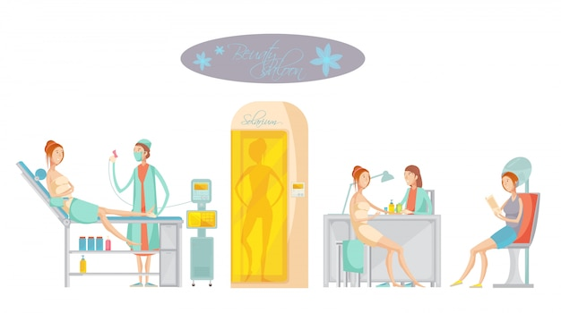 Flat concept with female customers doing epilation and receiving other services in beauty spa salon