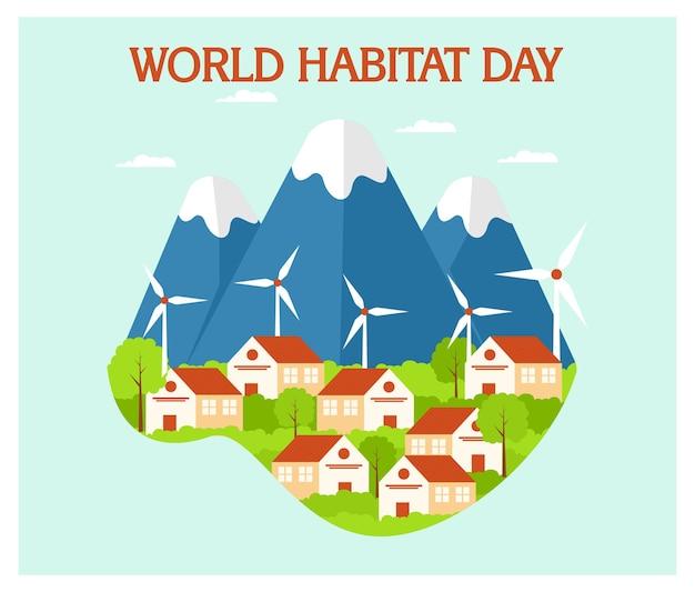 Flat concept of world habibat day background