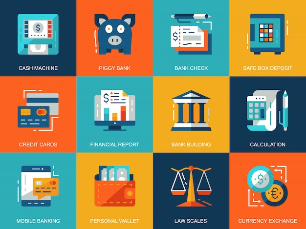 Flat conceptual banking and finance icons concepts set