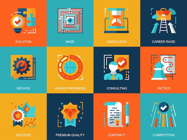 Flat conceptual business process icons concepts set