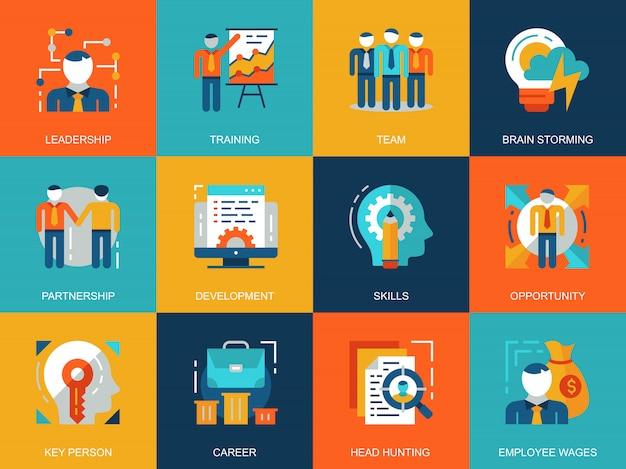 Flat conceptual corporate development icons concepts set