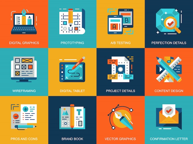 Flat conceptual creative process icons concepts set