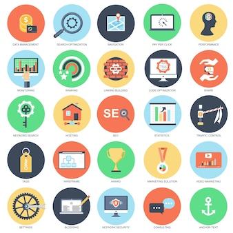 Flat conceptual icon set of seo tools