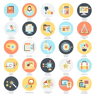 Flat conceptual icons pack of business content management, usability thinking.