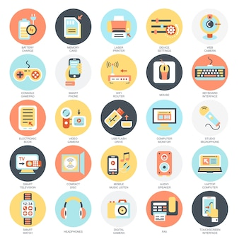 Flat conceptual icons pack of computer electronics and multimedia devices.