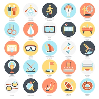 Flat conceptual icons pack of sports training disciplines, athletics practice.